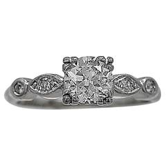 Art Deco .70 Carat Diamond Palladium Engagement Ring