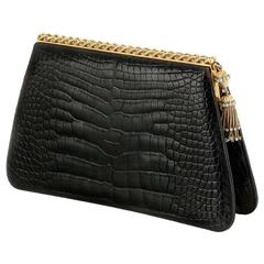 1950s Black Alligator Diamond & Gold Clutch