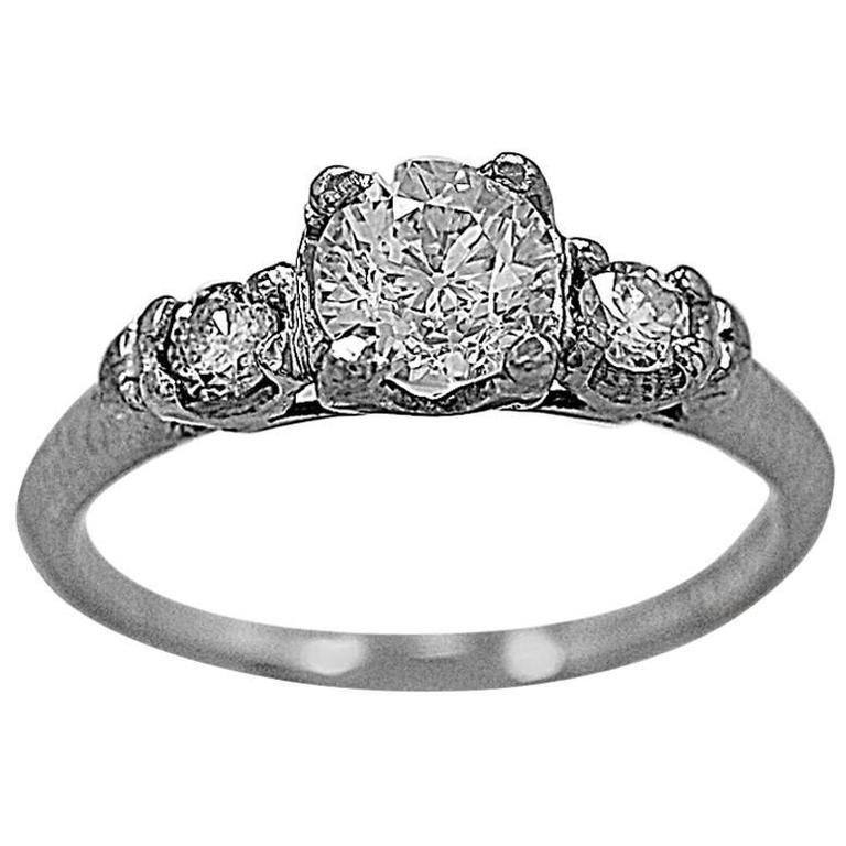 Art Deco .51 Carat 3 Stone Diamond Platinum Ring
