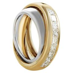Cartier Invisible Set Diamond Multicolor Gold Band Ring