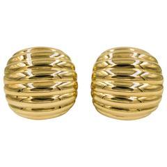 John Hardy Gold Domed Half Hoop Earrings