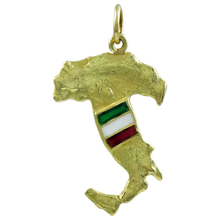 Italy Gold and Enamel Charm
