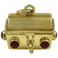 Gold Treasure Chest Charm with Dice