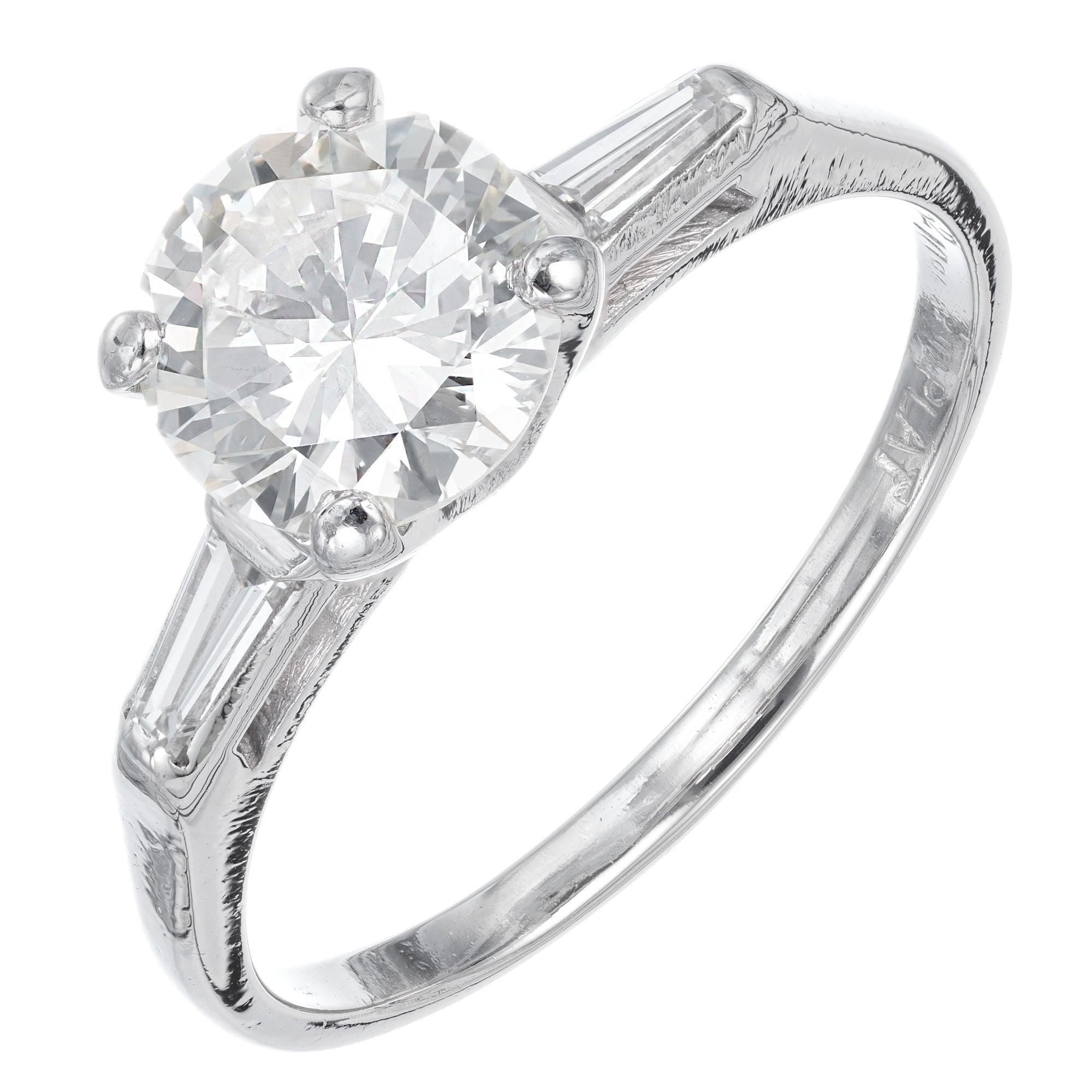 1.52 Carat Diamond Three-Stone Platinum Engagement Ring