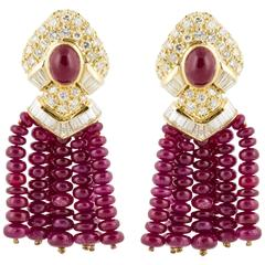 Ruby Diamond Gold Tassel Earrings