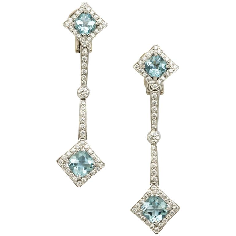Tanagro 4.23 Carat Aquamarine 1.46 carats Diamond Dangling Platinum Earrings