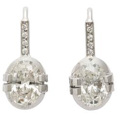 Tanagro 1.53 cara Oval White Diamonds and Diamond Pave' Platinum 950 earrings