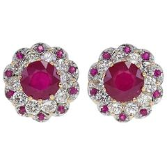 Luise Ruby Diamond Gold Earrings