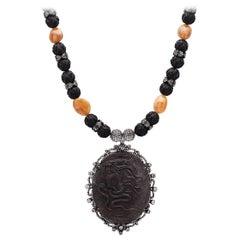 Lave Cameo Pendant Necklace with Diamonds