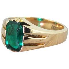 Victorian 1.60 Carat Rectangular Cut Emerald Solitaire Ring