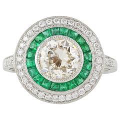 1.14 Carat Old European Cut Diamond Emerald Platinum Ring