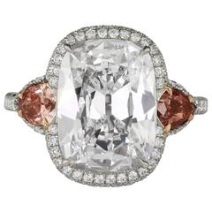 5.27 Carats GIA Cert Cushion Diamond Platinum Ring