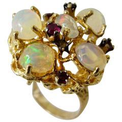Opal Ruby Gold Branching Ring