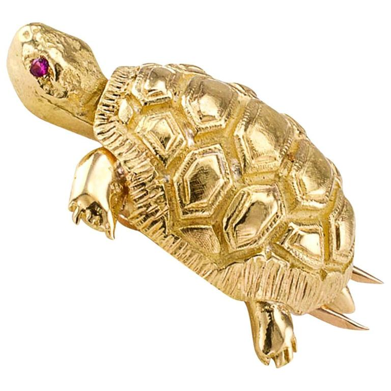 1960s Ruby Gold Turtle Brooch For Sale