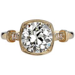 2.02 Carat Old European Cut Diamond Gold Engagement Ring