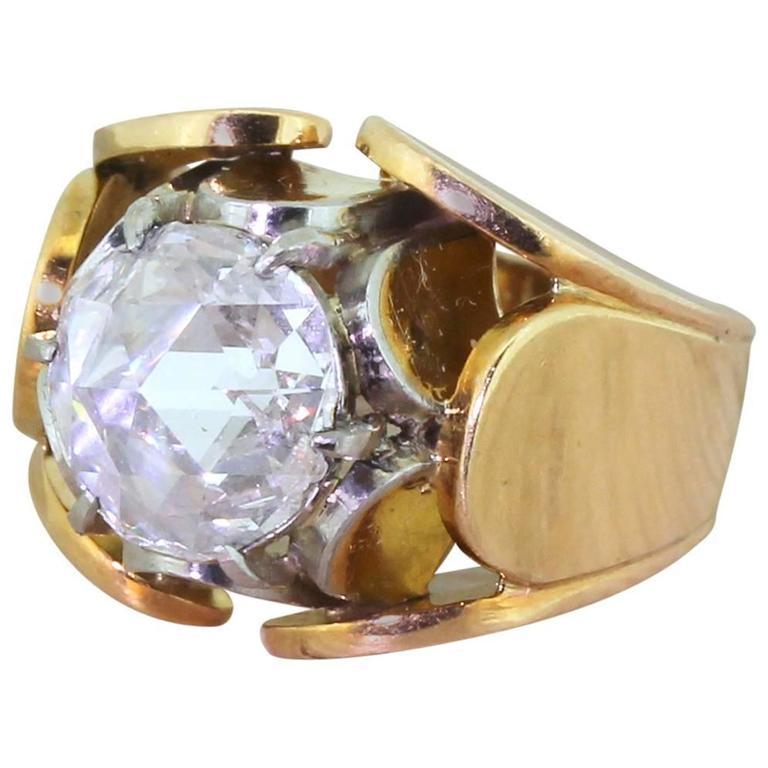 Mid Century 2 06 Carat Rose Cut Diamond Lotus Ring For