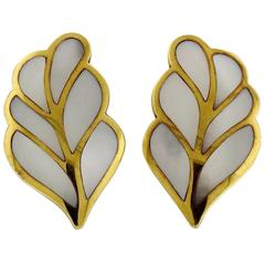 1980s Tiffany & Co. Gold Mother of Pearl Inlay Leaf Motif Earrings