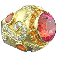 Paula Crevoshay Rare California Tourmaline Diamond Gold Ring