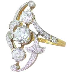 Art Nouveau 1.76 Carat Old Cut Diamond Ring