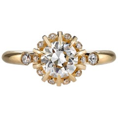 Yellow Gold Old European Cut Diamond Engagement Ring