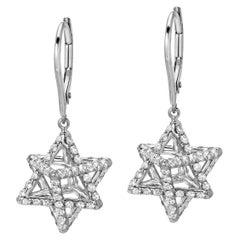 Merkaba Diamond Platinum Lever Back Drop Earrings
