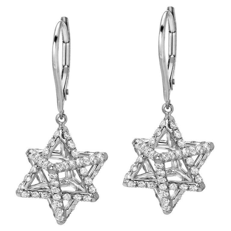 Merkaba Diamond Platinum Lever Back Drop Earrings For Sale