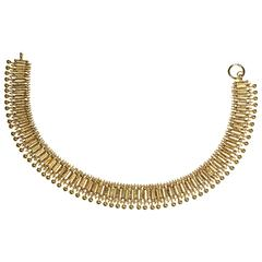 Silver Gilt Etruscan Style Collar Choker Necklace