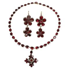 1820s Garnet Pearl Gold Necklace Pendant and Pansy Think of Me Earrings