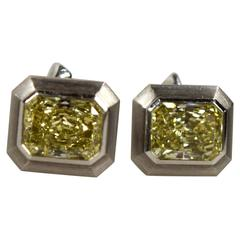 A Rare and Amazing Perfect  Pair of Natural Fancy Yellow Diamonds 12.23CT