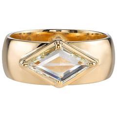 Kite Shaped Rose Cut Diamond Gold Cigar Band Ring
