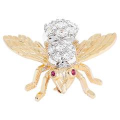 Rosenthal Diamond Gold Large Bee Pin