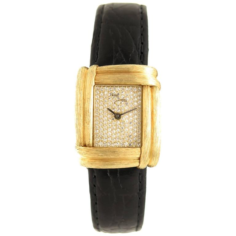 Henry Dunay Ladies Yellow Gold Diamond Sabe Quartz Wristwatch