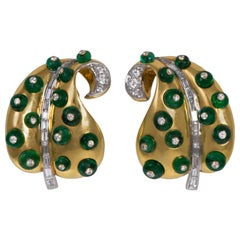 Marilyn Cooperman Diamond  Emerald Bead Gold Leaf Earrings