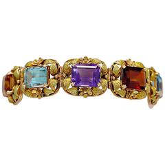1950s Multi Colored Stone Two Color Gold Bracelet