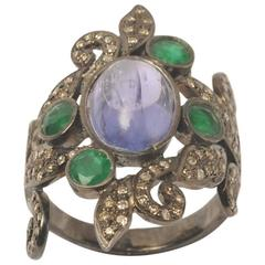 Cabochon Tanzanite Faceted Emeralds Pave Diamond Sterling Silver Ring