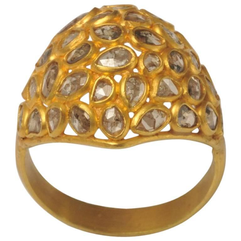 Mosaic of Rosecut Diamonds and 22 Karat Gold Bombe Cactus Flower Ring For Sale