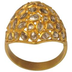 Mosaic of Rosecut Diamonds and 22 Karat Gold Dome Cactus Flower Ring