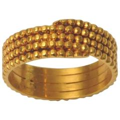 Textured Gold Coil Band Ring