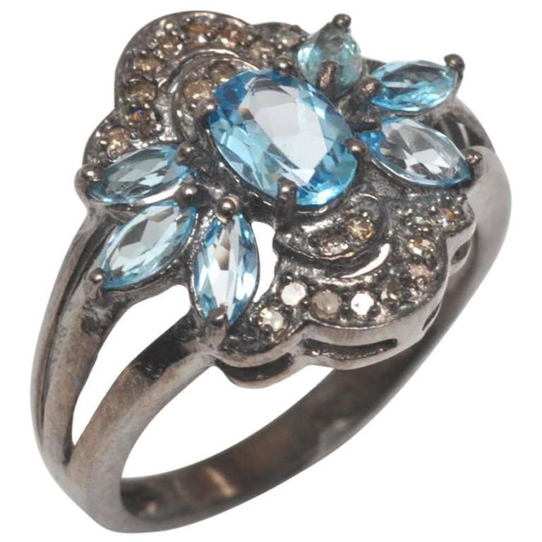 Blue Topaz Diamond Sterling Silver Ring