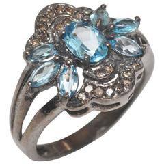 Blue Topaz Diamond Sterling Silver Ring