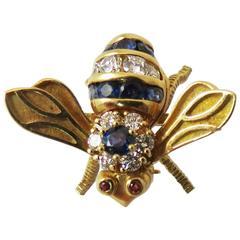 Rosenthal Sapphire Diamond Gold Bee Pin