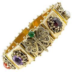 1950s Gem Stone Gold Slide Link Bracelet