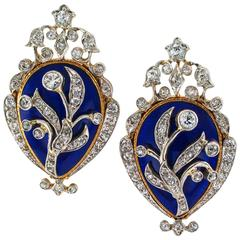 1890s Victorian Royal Blue Enamel Diamond Gold Platinum Ear Clips
