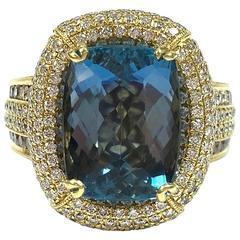 7.58 Carat GIA Cert Cushion Cut Aquamarine Diamond Gold Ring