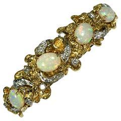 Opal Diamond Gold Bangle Bracelet