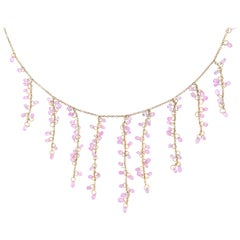 Jona Pink Sapphire 18 Karat Rose Gold Dangling Drop Necklace