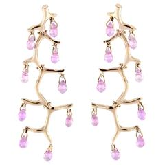 Jona Pink Sapphire Gold Chandelier Earrings