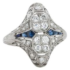 1920s Art Deco Gorgeous Sapphire Diamond Platinum Filigree Ring