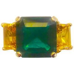 Zambian Yellow Sapphire Emerald Gold Three Stone Ring