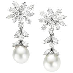 1970s Cultured Pearl Diamond Platinum Earrings